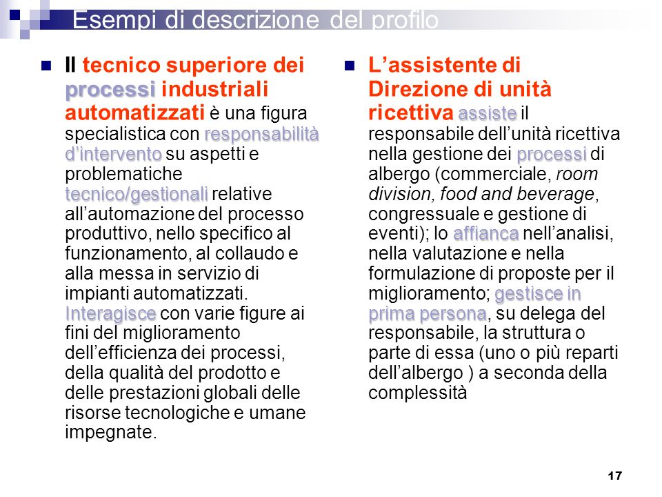 17 processi responsabilità dintervento tecnico/gestionali Interagisce Il tecnico superiore dei processi industriali automatizzati è una figura special