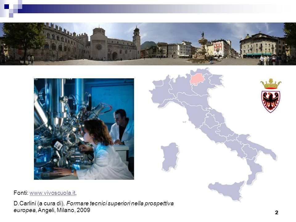 2 Fonti: www.vivoscuola.it,www.vivoscuola.it D.Carlini (a cura di), Formare tecnici superiori nella prospettiva europea, Angeli, Milano, 2009