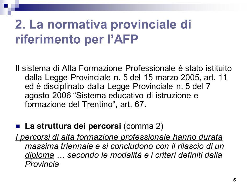 5 2. La normativa provinciale di riferimento per lAFP Il sistema di Alta Formazione Professionale è stato istituito dalla Legge Provinciale n. 5 del 1