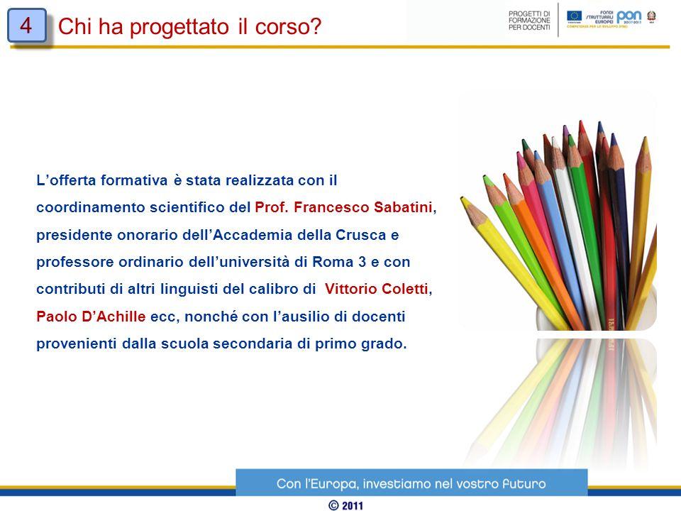 Lofferta formativa è stata realizzata con il coordinamento scientifico del Prof. Francesco Sabatini, presidente onorario dellAccademia della Crusca e