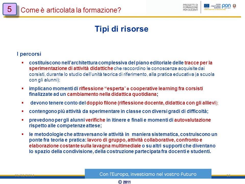 01/02/201416 Come è articolata la formazione? 5 5 Tipi di risorse I percorsi costituiscono nellarchitettura complessiva del piano editoriale delle tra