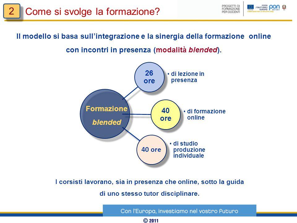 Il modello si basa sullintegrazione e la sinergia della formazione online con incontri in presenza (modalità blended). I corsisti lavorano, sia in pre