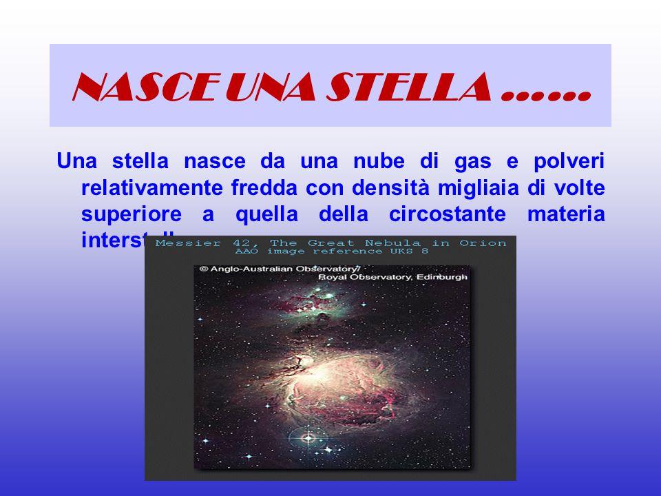 NASCE UNA STELLA …… Una stella nasce da una nube di gas e polveri relativamente fredda con densità migliaia di volte superiore a quella della circosta