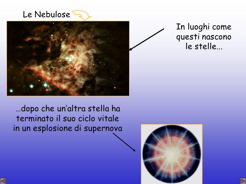 In luoghi come questi nascono le stelle... …dopo che unaltra stella ha terminato il suo ciclo vitale in un esplosione di supernova Le Nebulose