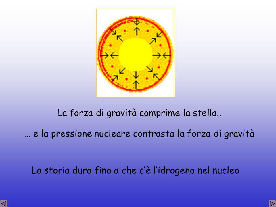 La forza di gravità comprime la stella.. … e la pressione nucleare contrasta la forza di gravità La storia dura fino a che cè lidrogeno nel nucleo