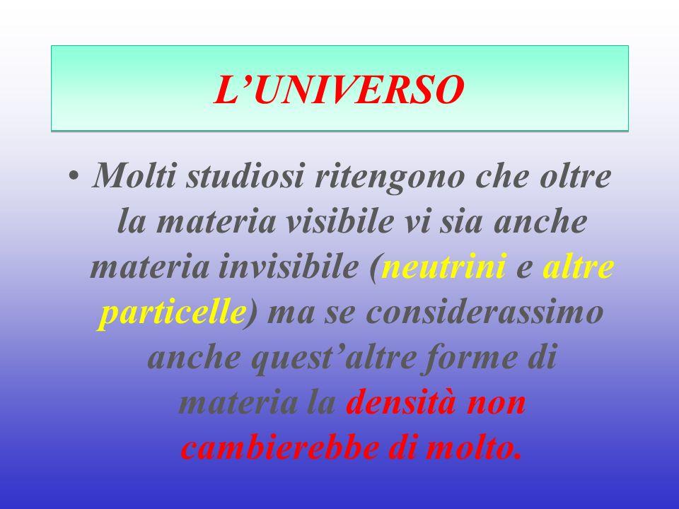 LUNIVERSO Molti studiosi ritengono che oltre la materia visibile vi sia anche materia invisibile (neutrini e altre particelle) ma se considerassimo an