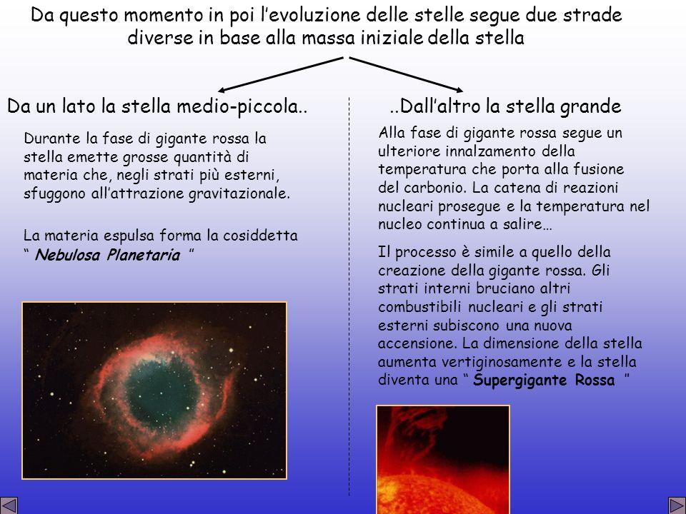 Da questo momento in poi levoluzione delle stelle segue due strade diverse in base alla massa iniziale della stella Da un lato la stella medio-piccola