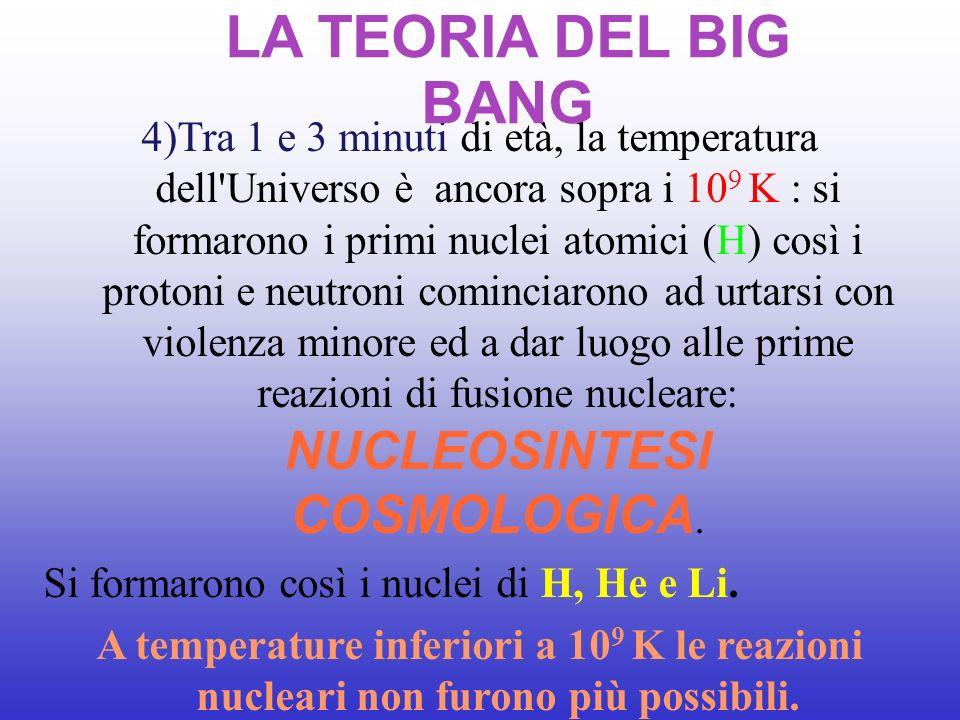 4)Tra 1 e 3 minuti di età, la temperatura dell'Universo è ancora sopra i 10 9 K : si formarono i primi nuclei atomici (H) così i protoni e neutroni co
