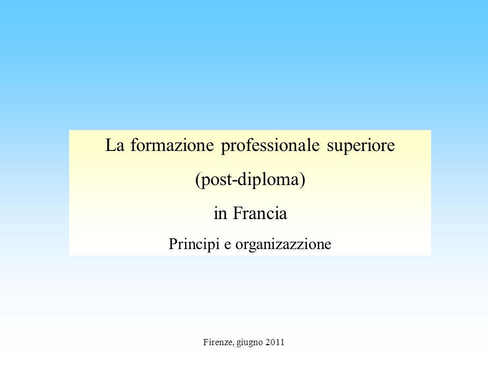 Firenze, giugno 2011 La formazione professionale superiore (post-diploma) in Francia Principi e organizazzione