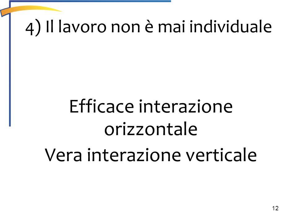 12 4) Il lavoro non è mai individuale Efficace interazione orizzontale Vera interazione verticale