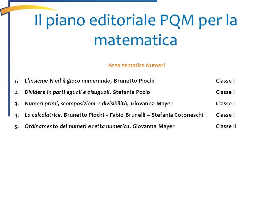 Il piano editoriale PQM per la matematica Area tematica Numeri 1.Linsieme N ed il gioco numerando, Brunetto PiochiClasse I 2.Dividere in parti eguali