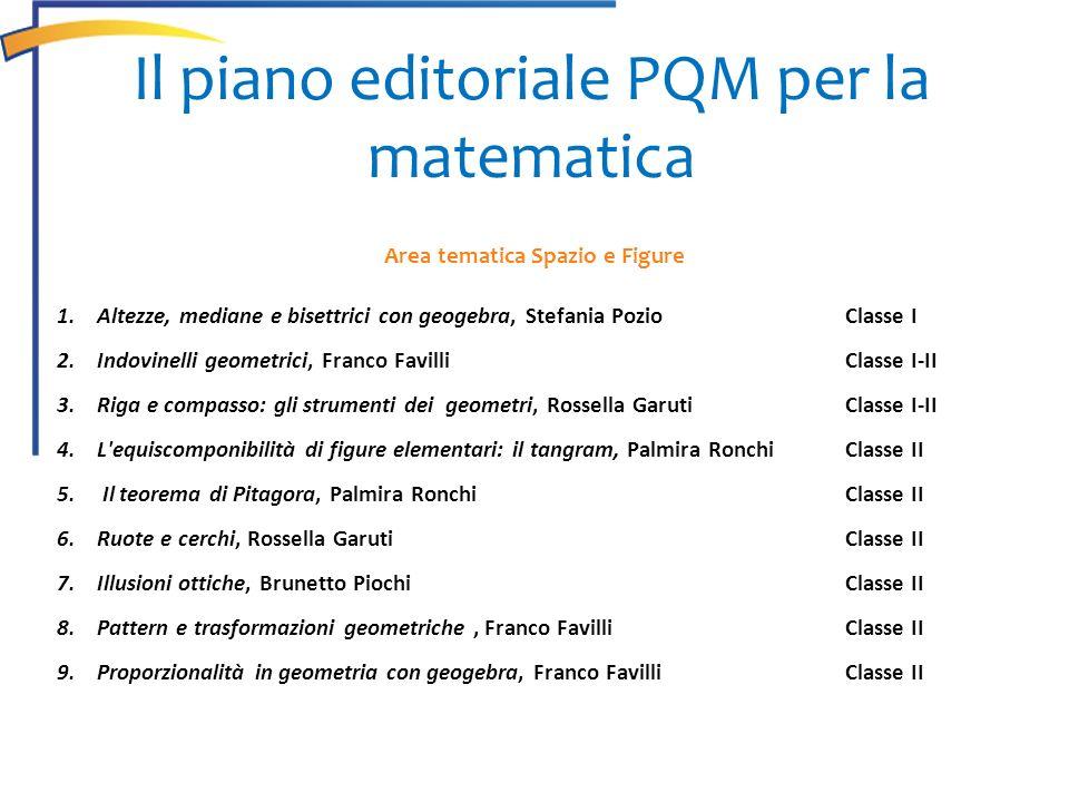 Area tematica Spazio e Figure 1.Altezze, mediane e bisettrici con geogebra, Stefania PozioClasse I 2.Indovinelli geometrici, Franco Favilli Classe I-I