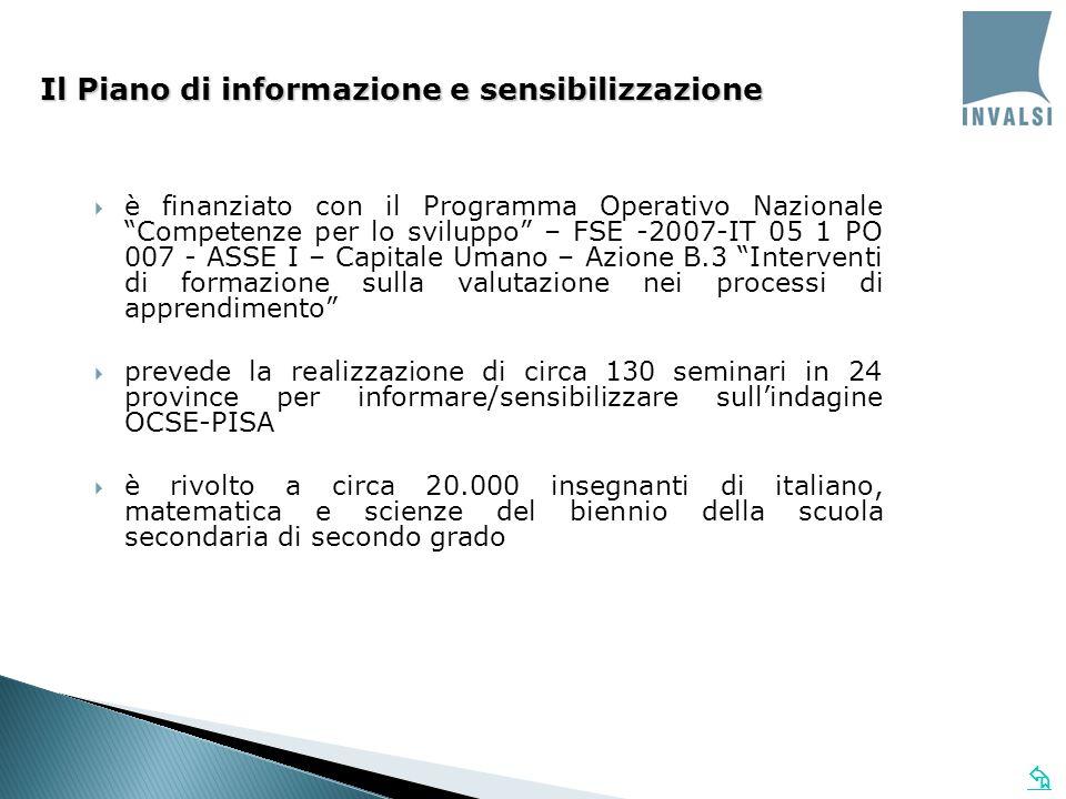 è finanziato con il Programma Operativo Nazionale Competenze per lo sviluppo – FSE -2007-IT 05 1 PO 007 - ASSE I – Capitale Umano – Azione B.3 Interventi di formazione sulla valutazione nei processi di apprendimento prevede la realizzazione di circa 130 seminari in 24 province per informare/sensibilizzare sullindagine OCSE-PISA è rivolto a circa 20.000 insegnanti di italiano, matematica e scienze del biennio della scuola secondaria di secondo grado Il Piano di informazione e sensibilizzazione