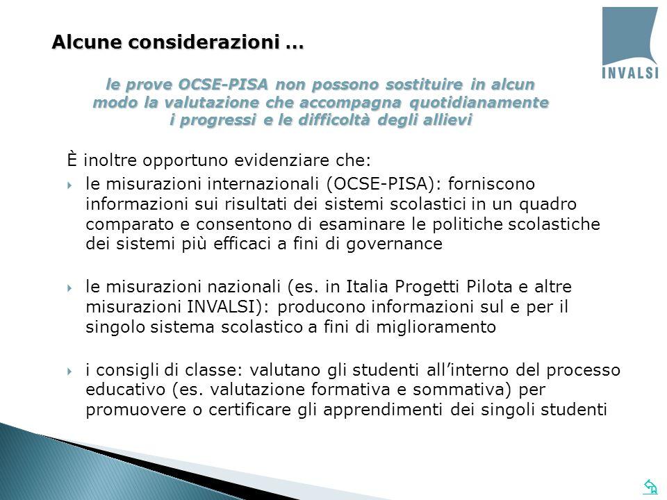 le prove OCSE-PISA non possono sostituire in alcun modo la valutazione che accompagna quotidianamente i progressi e le difficoltà degli allievi È inoltre opportuno evidenziare che: le misurazioni internazionali (OCSE-PISA): forniscono informazioni sui risultati dei sistemi scolastici in un quadro comparato e consentono di esaminare le politiche scolastiche dei sistemi più efficaci a fini di governance le misurazioni nazionali (es.