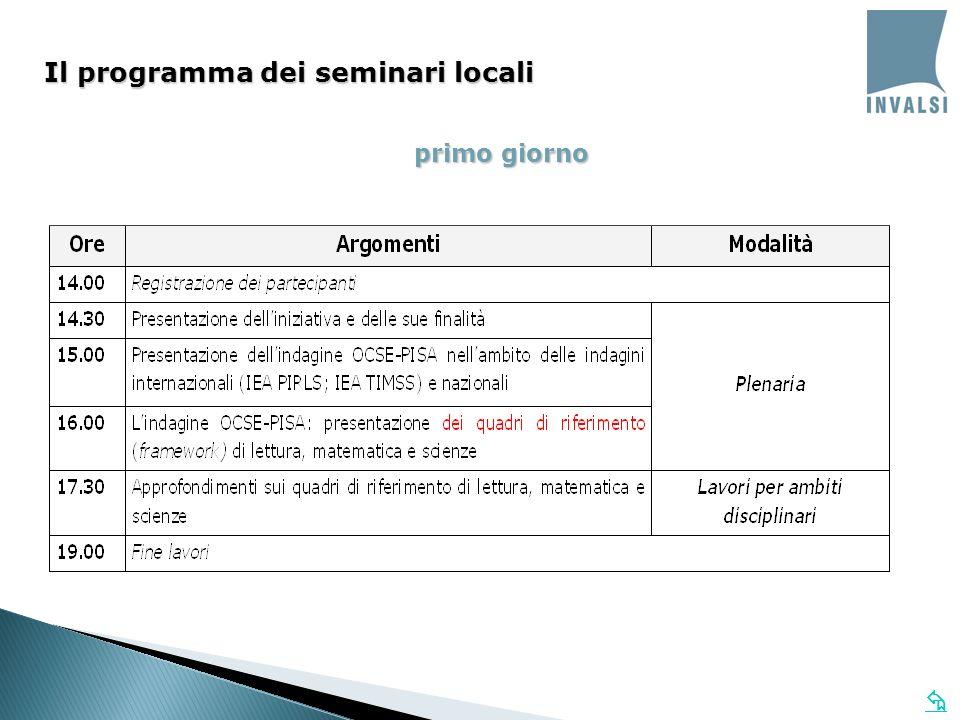 primo giorno Il programma dei seminari locali