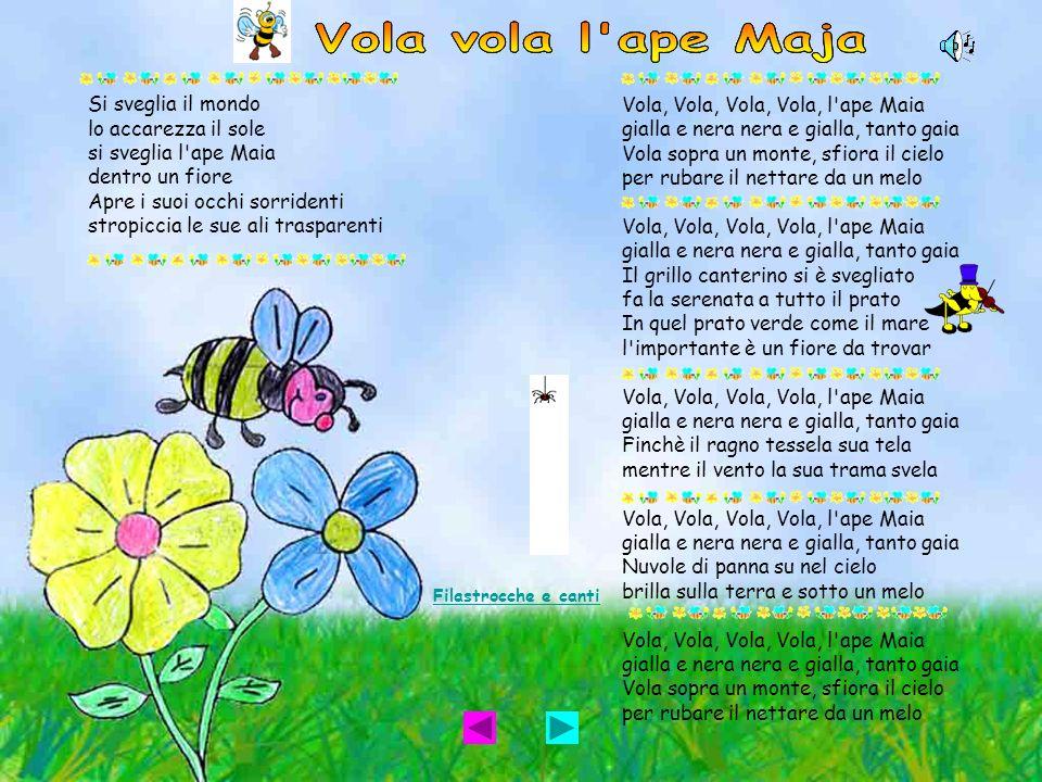 Si sveglia il mondo lo accarezza il sole si sveglia l'ape Maia dentro un fiore Apre i suoi occhi sorridenti stropiccia le sue ali trasparenti Vola, Vo