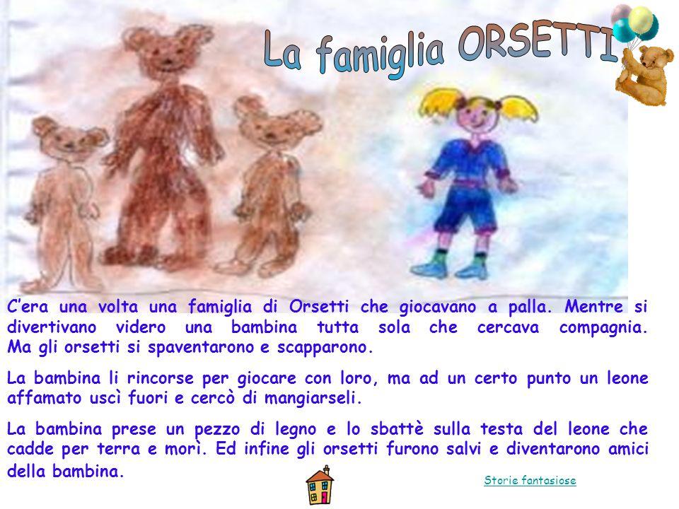 Cera una volta una famiglia di Orsetti che giocavano a palla. Mentre si divertivano videro una bambina tutta sola che cercava compagnia. Ma gli orsett