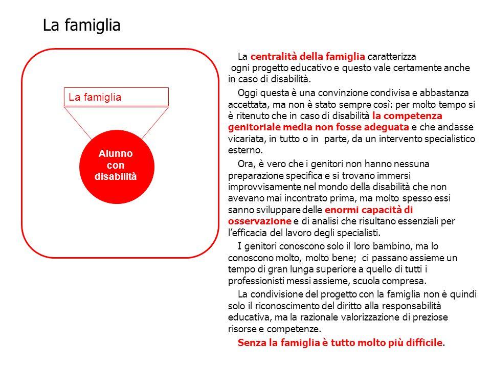 La centralità della famiglia caratterizza ogni progetto educativo e questo vale certamente anche in caso di disabilità. Oggi questa è una convinzione