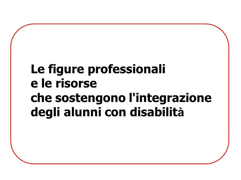Le figure professionali e le risorse che sostengono l'integrazione degli alunni con disabilit à