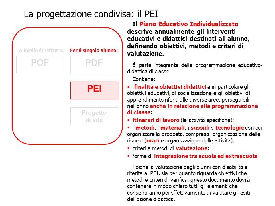 Il Piano Educativo Individualizzato descrive annualmente gli interventi educativi e didattici destinati all alunno, definendo obiettivi, metodi e crit