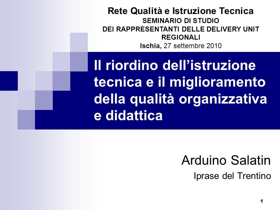 1 Il riordino dellistruzione tecnica e il miglioramento della qualità organizzativa e didattica Arduino Salatin Iprase del Trentino Rete Qualità e Istruzione Tecnica SEMINARIO DI STUDIO DEI RAPPRESENTANTI DELLE DELIVERY UNIT REGIONALI Ischia, 27 settembre 2010