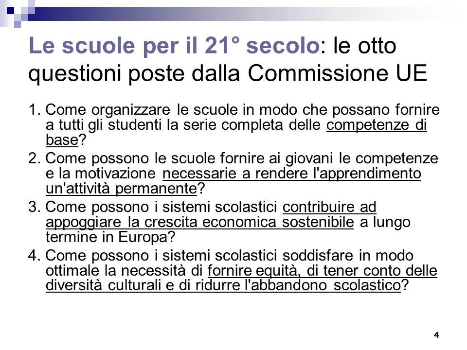 4 Le scuole per il 21° secolo: le otto questioni poste dalla Commissione UE 1.