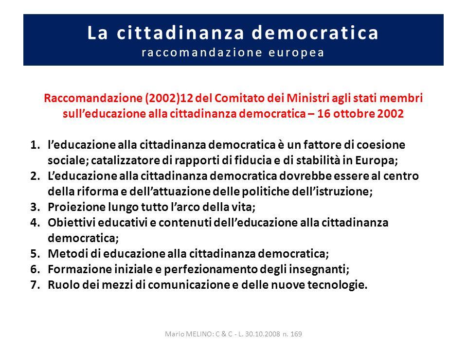 La cittadinanza democratica raccomandazione europea Raccomandazione (2002)12 del Comitato dei Ministri agli stati membri sulleducazione alla cittadinanza democratica – 16 ottobre 2002 1.leducazione alla cittadinanza democratica è un fattore di coesione sociale; catalizzatore di rapporti di fiducia e di stabilità in Europa; 2.Leducazione alla cittadinanza democratica dovrebbe essere al centro della riforma e dellattuazione delle politiche dellistruzione; 3.Proiezione lungo tutto larco della vita; 4.Obiettivi educativi e contenuti delleducazione alla cittadinanza democratica; 5.Metodi di educazione alla cittadinanza democratica; 6.Formazione iniziale e perfezionamento degli insegnanti; 7.Ruolo dei mezzi di comunicazione e delle nuove tecnologie.