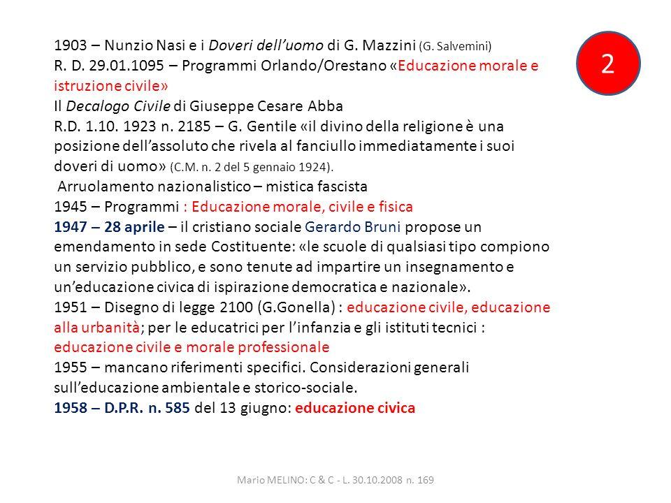 2 1903 – Nunzio Nasi e i Doveri delluomo di G. Mazzini (G.