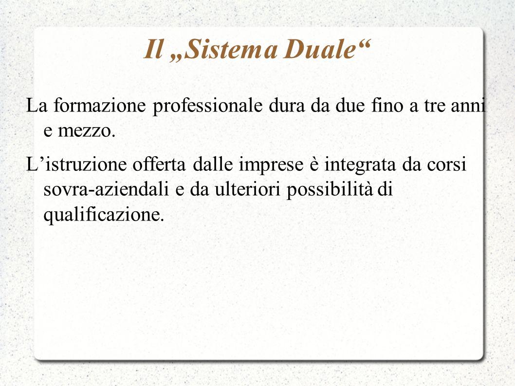 Il Sistema Duale La formazione professionale dura da due fino a tre anni e mezzo. Listruzione offerta dalle imprese è integrata da corsi sovra-azienda