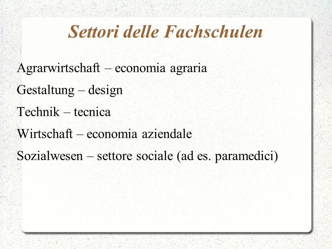 Settori delle Fachschulen Agrarwirtschaft – economia agraria Gestaltung – design Technik – tecnica Wirtschaft – economia aziendale Sozialwesen – setto