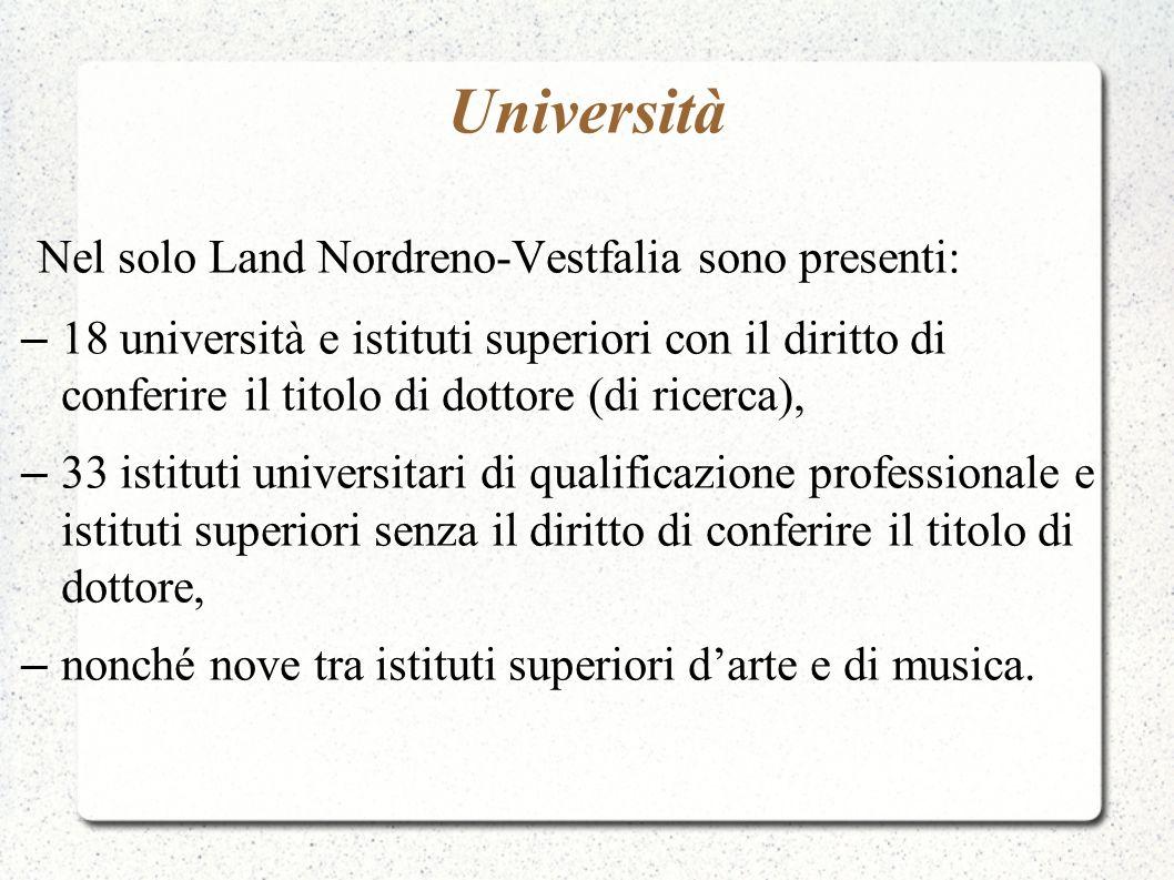 Università Nel solo Land Nordreno-Vestfalia sono presenti: – 18 università e istituti superiori con il diritto di conferire il titolo di dottore (di r