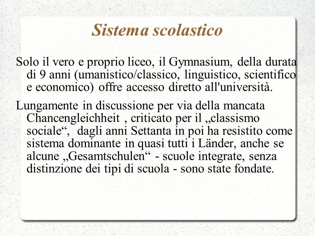 Sistema scolastico Solo il vero e proprio liceo, il Gymnasium, della durata di 9 anni (umanistico/classico, linguistico, scientifico e economico) offr