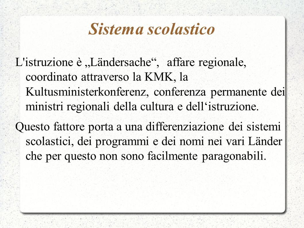 Sistema scolastico L'istruzione è Ländersache, affare regionale, coordinato attraverso la KMK, la Kultusministerkonferenz, conferenza permanente dei m