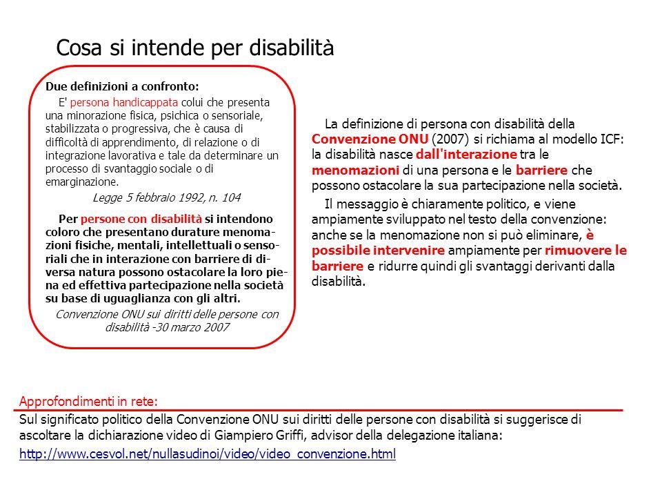 La definizione di persona con disabilità della Convenzione ONU (2007) si richiama al modello ICF: la disabilità nasce dall'interazione tra le menomazi