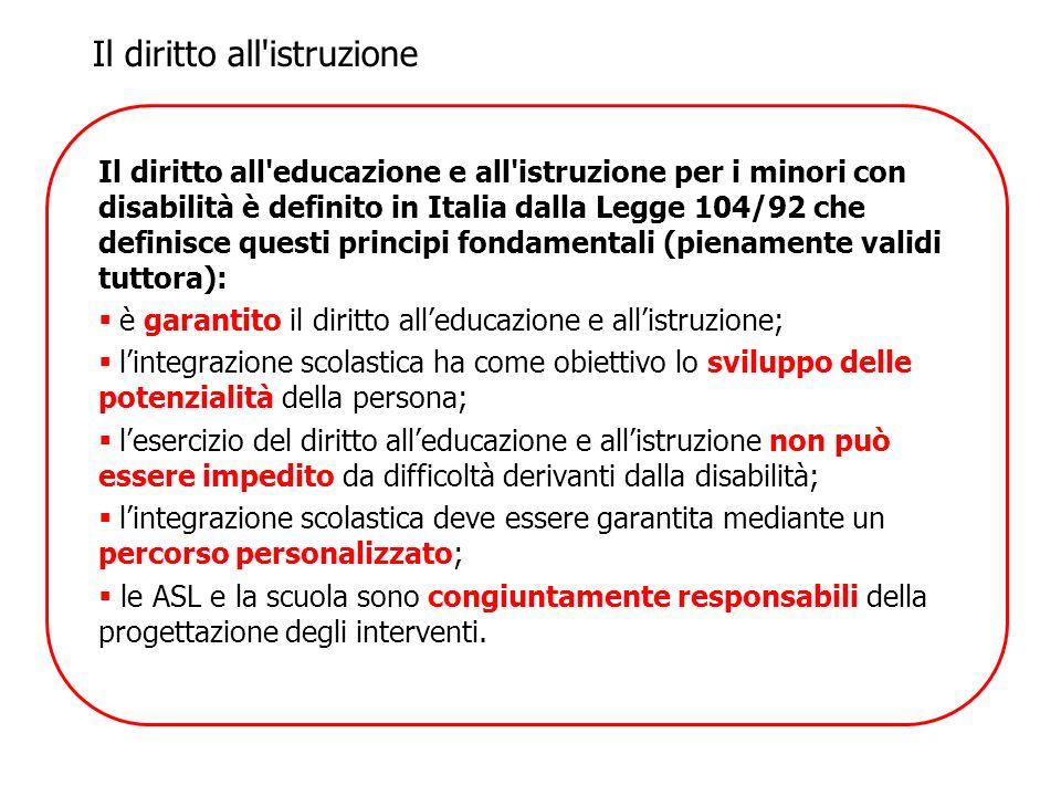 Il diritto all'educazione e all'istruzione per i minori con disabilità è definito in Italia dalla Legge 104/92 che definisce questi principi fondament