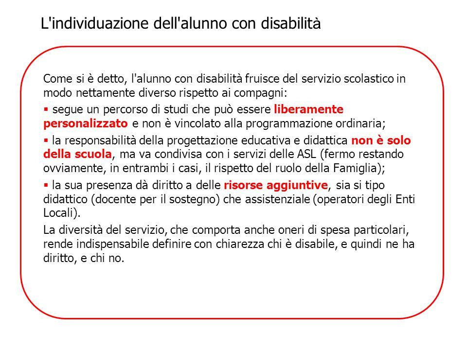 Come si è detto, l'alunno con disabilità fruisce del servizio scolastico in modo nettamente diverso rispetto ai compagni: segue un percorso di studi c