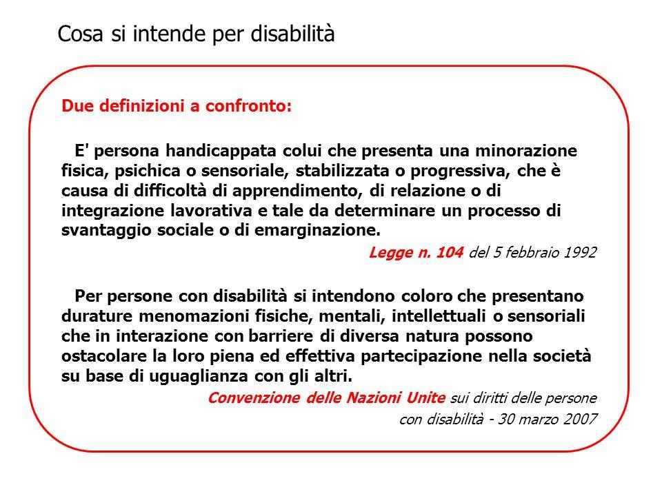 Due definizioni a confronto: E' persona handicappata colui che presenta una minorazione fisica, psichica o sensoriale, stabilizzata o progressiva, che