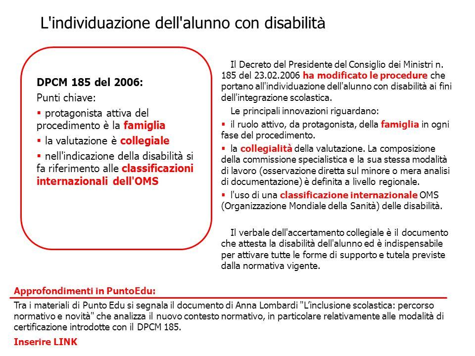 Il Decreto del Presidente del Consiglio dei Ministri n. 185 del 23.02.2006 ha modificato le procedure che portano all'individuazione dell'alunno con d