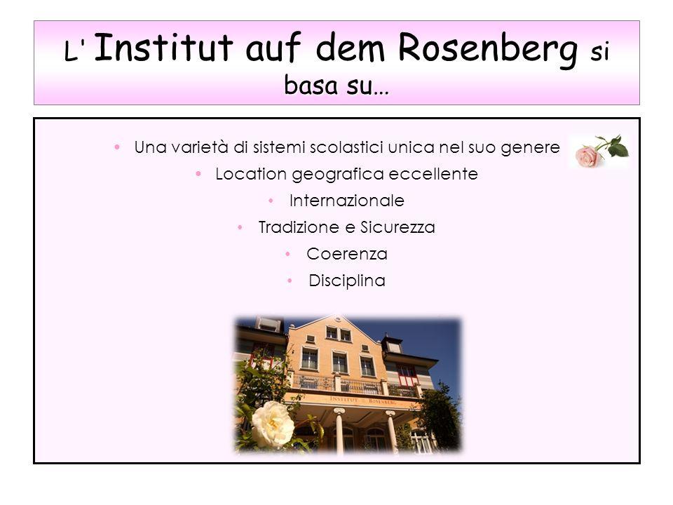 L' si basa su… L' Institut auf dem Rosenberg si basa su… Una varietà di sistemi scolastici unica nel suo genere Location geografica eccellente Interna