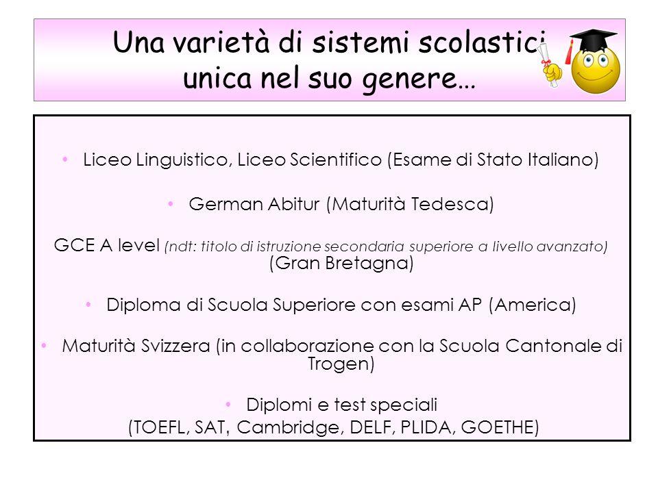 Una varietà di sistemi scolastici unica nel suo genere… Liceo Linguistico, Liceo Scientifico (Esame di Stato Italiano) German Abitur (Maturità Tedesca