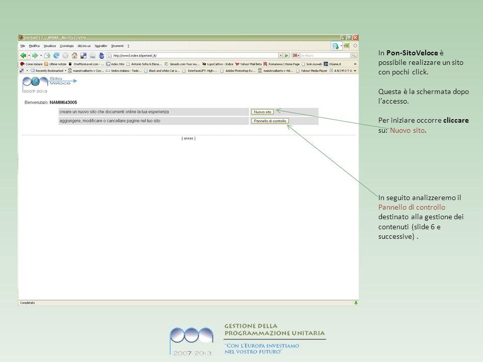 In Pon-SitoVeloce è possibile realizzare un sito con pochi click.