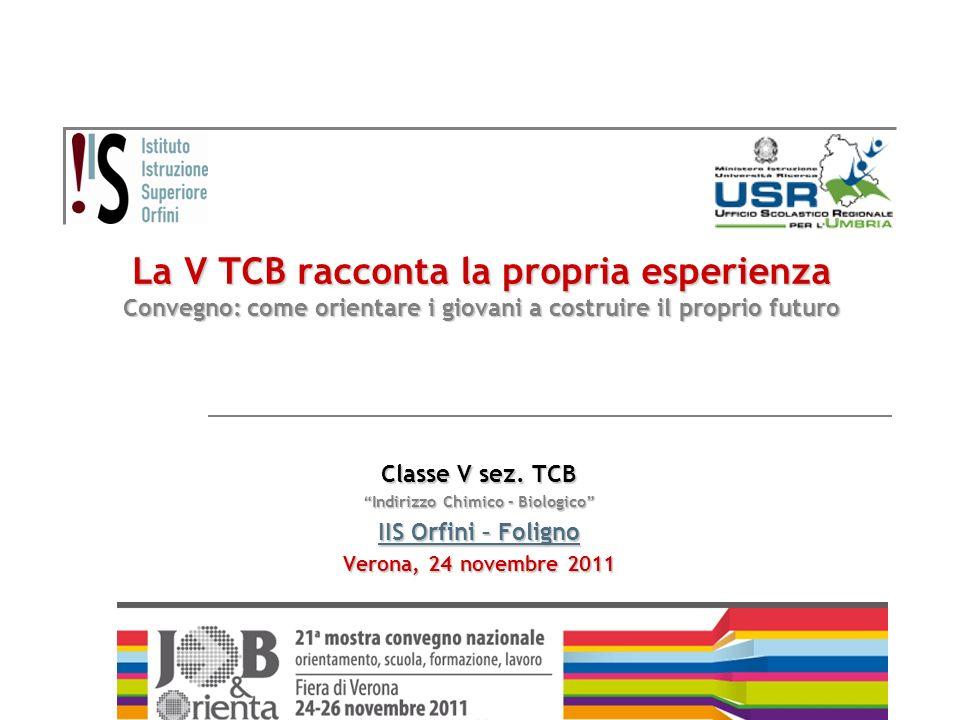 La V TCB racconta la propria esperienza Convegno: come orientare i giovani a costruire il proprio futuro Classe V sez. TCB Indirizzo Chimico – Biologi