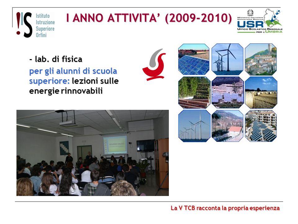 I ANNO ATTIVITA (2009-2010) - lab. di fisica per gli alunni di scuola superiore: lezioni sulle energie rinnovabili La V TCB racconta la propria esperi
