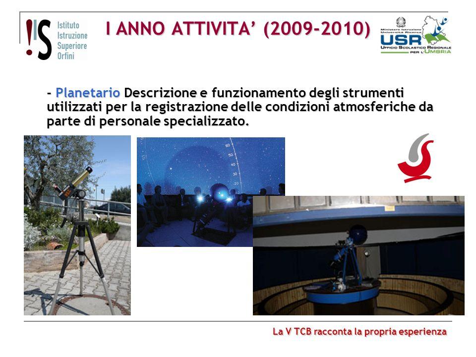 I ANNO ATTIVITA (2009-2010) - Planetario Descrizione e funzionamento degli strumenti utilizzati per la registrazione delle condizioni atmosferiche da
