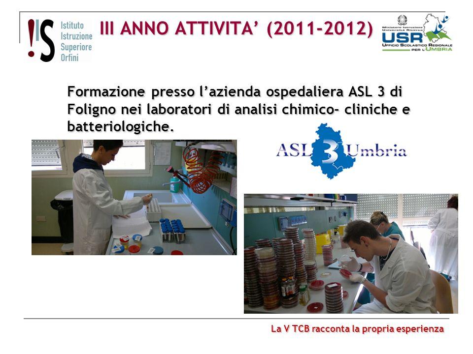 III ANNO ATTIVITA (2011-2012) Formazione presso lazienda ospedaliera ASL 3 di Foligno nei laboratori di analisi chimico- cliniche e batteriologiche. L