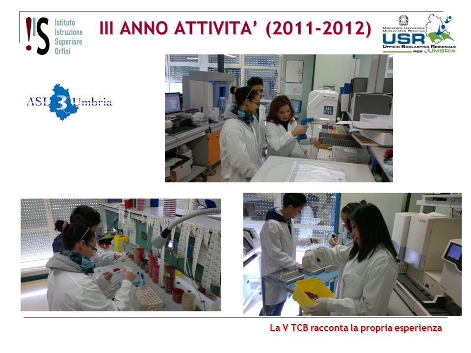 III ANNO ATTIVITA (2011-2012) La V TCB racconta la propria esperienza