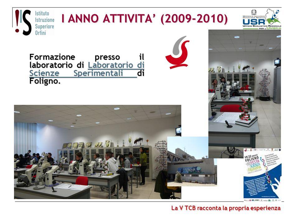 I ANNO ATTIVITA (2009-2010) Formazione presso il laboratorio di Laboratorio di Scienze Sperimentali di Foligno. Laboratorio di Scienze Sperimentali La