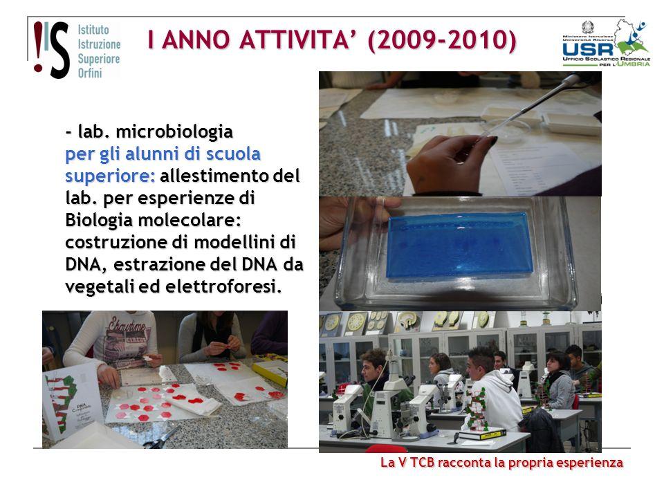 I ANNO ATTIVITA (2009-2010) - lab. microbiologia per gli alunni di scuola superiore: allestimento del lab. per esperienze di Biologia molecolare: cost