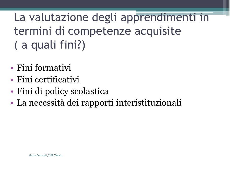 La valutazione degli apprendimenti in termini di competenze acquisite ( a quali fini?) Fini formativi Fini certificativi Fini di policy scolastica La