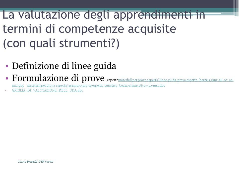 La valutazione degli apprendimenti in termini di competenze acquisite (con quali strumenti?) Definizione di linee guida Formulazione di prove espertem
